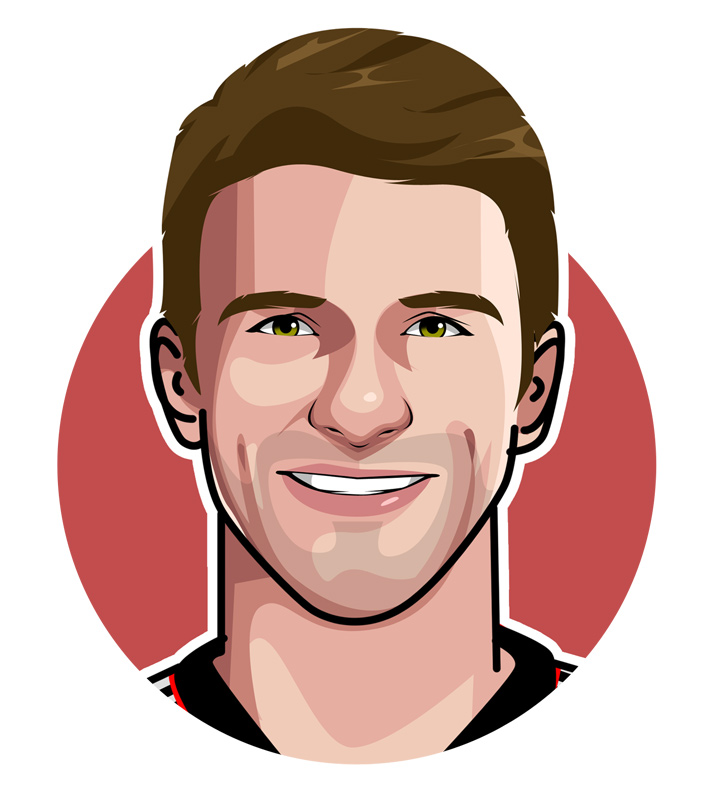 Thomas Muller Art.  One of the greatest German football players of all time.  Illustration.  Profile drawing.