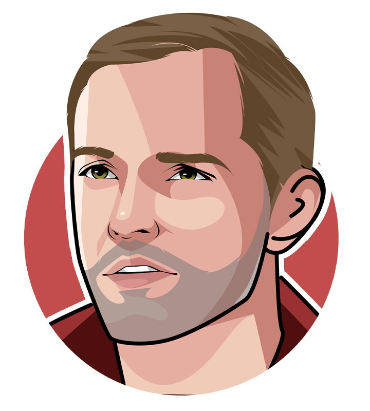 The current Chelsea FC manager Thomas Tuchel - Master tactician nicknamed The Professor - Illustration.  Profile drawing.  Avatar art.