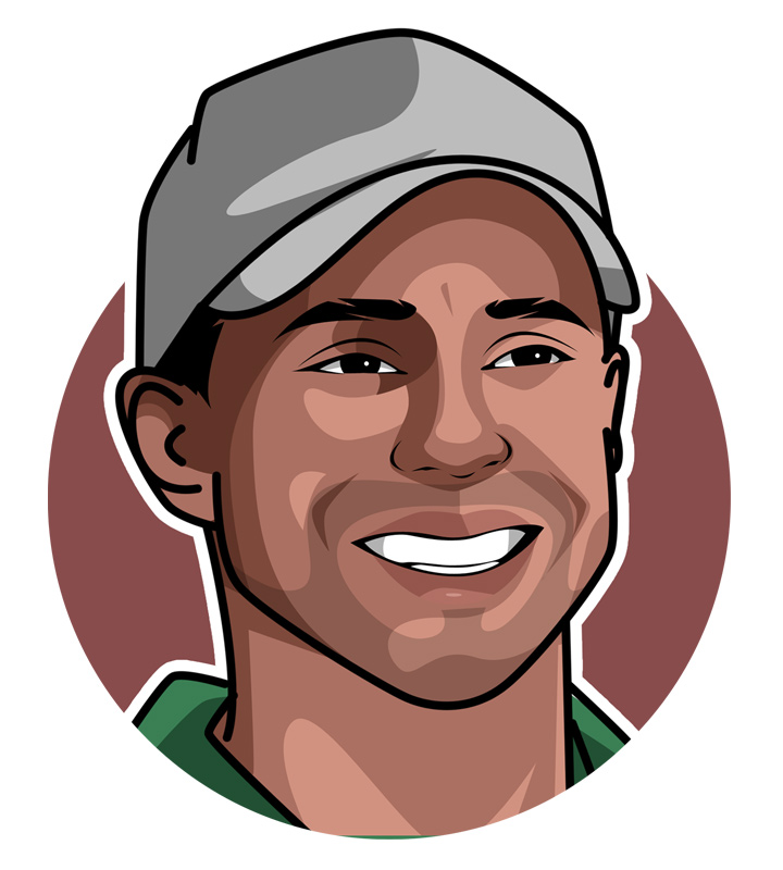 Tiger Woods - One of the best golfers of all time.  Profile illustration.  Art.  Drawing.