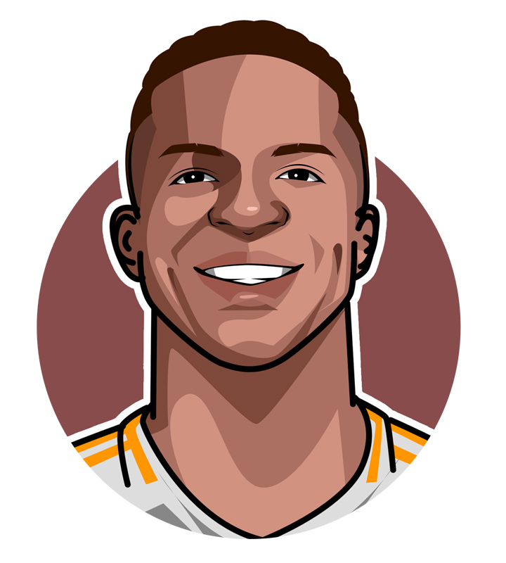 Profile illustration of Vinicius Junior - Real Madrid and Brazil football star - Art - Drawing.