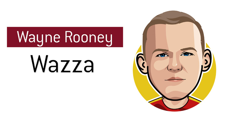 One of the most popular English football players of all time - Wayne Rooney - Wazza - Illustration / Drawing.  Profile.