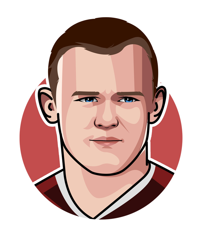 Profile illustration of Wayne Rooney the soccer player.  Drawing.  Art.