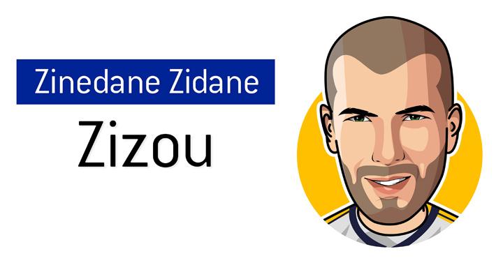 The one and only - Zizou - French international - Zinedine Zidane - Illustration / Drawing Nickname.