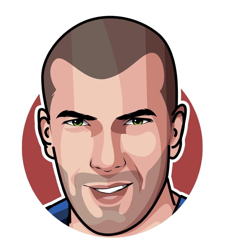 Profile drawing of Zinedane Zidane, also known as Zizou - Digital art.  Illustration.