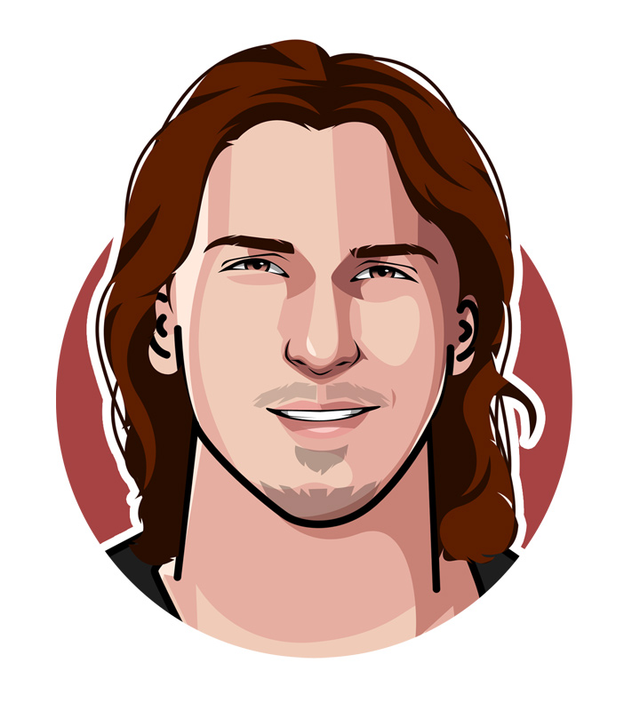 Profile drawing of Zlatan Ibrahimovic - Soccer player from Sweden - Illustration.  Digital art.