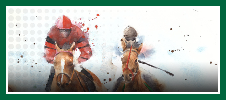 Where is a good place to bet on Belmont Stakes?  Read the article and click the link above.  Illustration of two horses during a race.