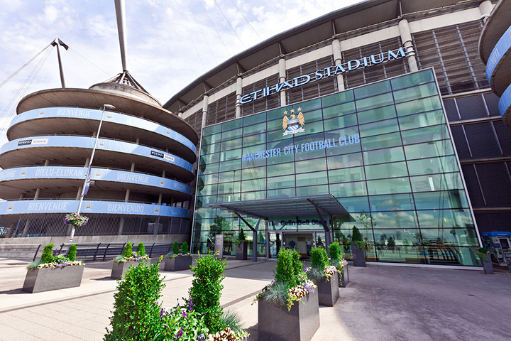 The front entrance of the Etihad Stadium in Manchester.  The home of Man City FC.