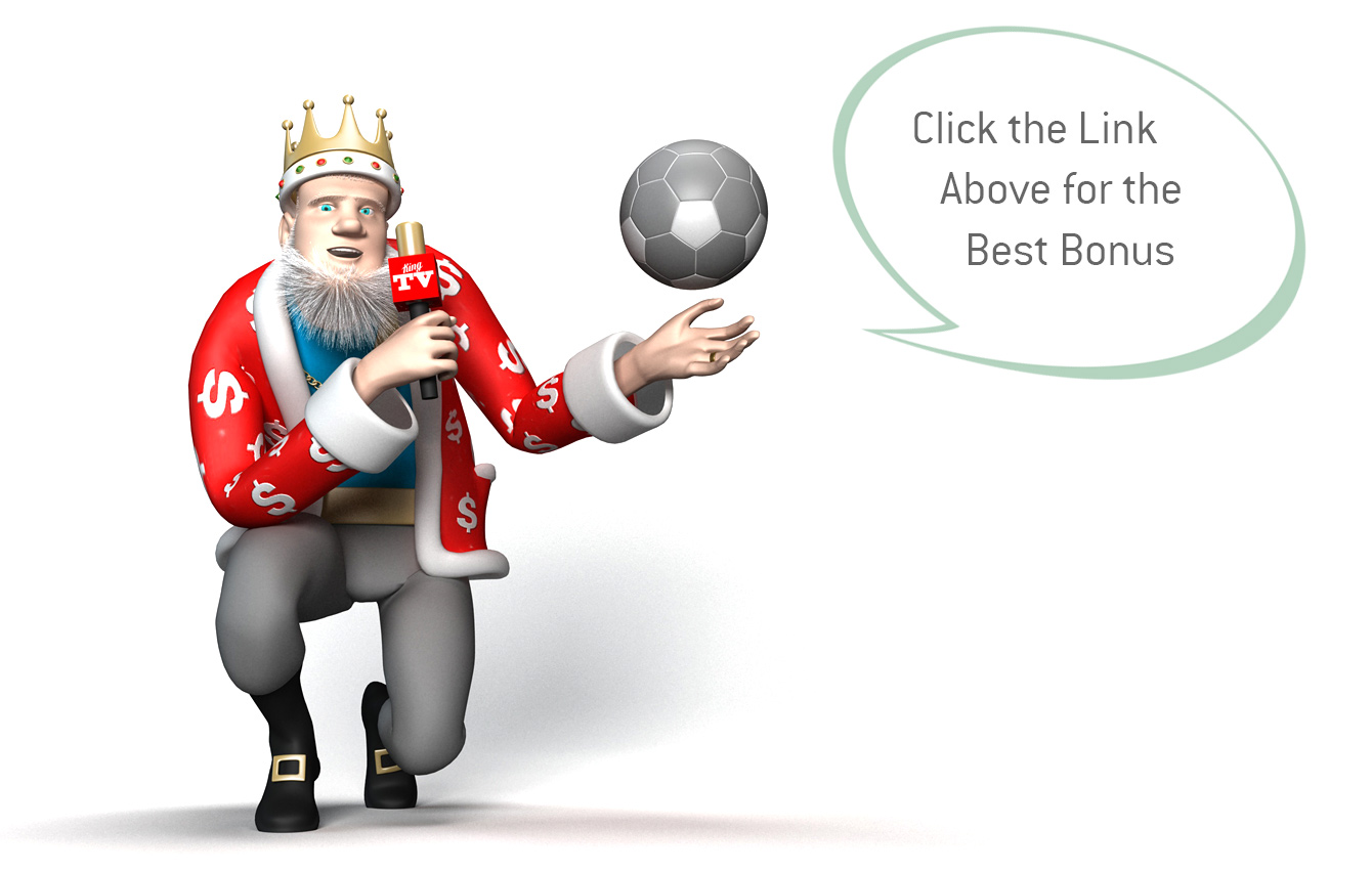 The King is holding a football in one hand and a mic in the other, while reporting on the English Premier League odds and betting.