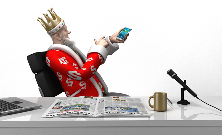 The Sports King is scrolling through his mobile sports betting apps on his cellphone.