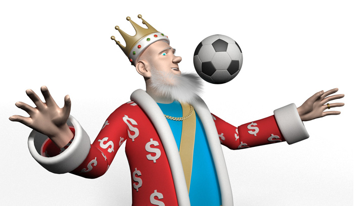 The King is chesting a soccer ball.  Talking about opening your first football betting account.