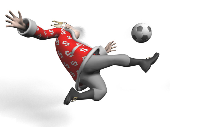The Football King is photographed in mid air while performing a clean scizzor kick.