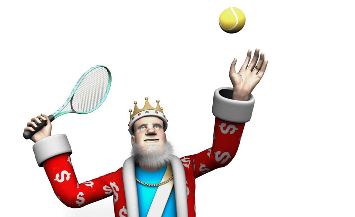The King is about to send a mean searve.  The sport is tennis.