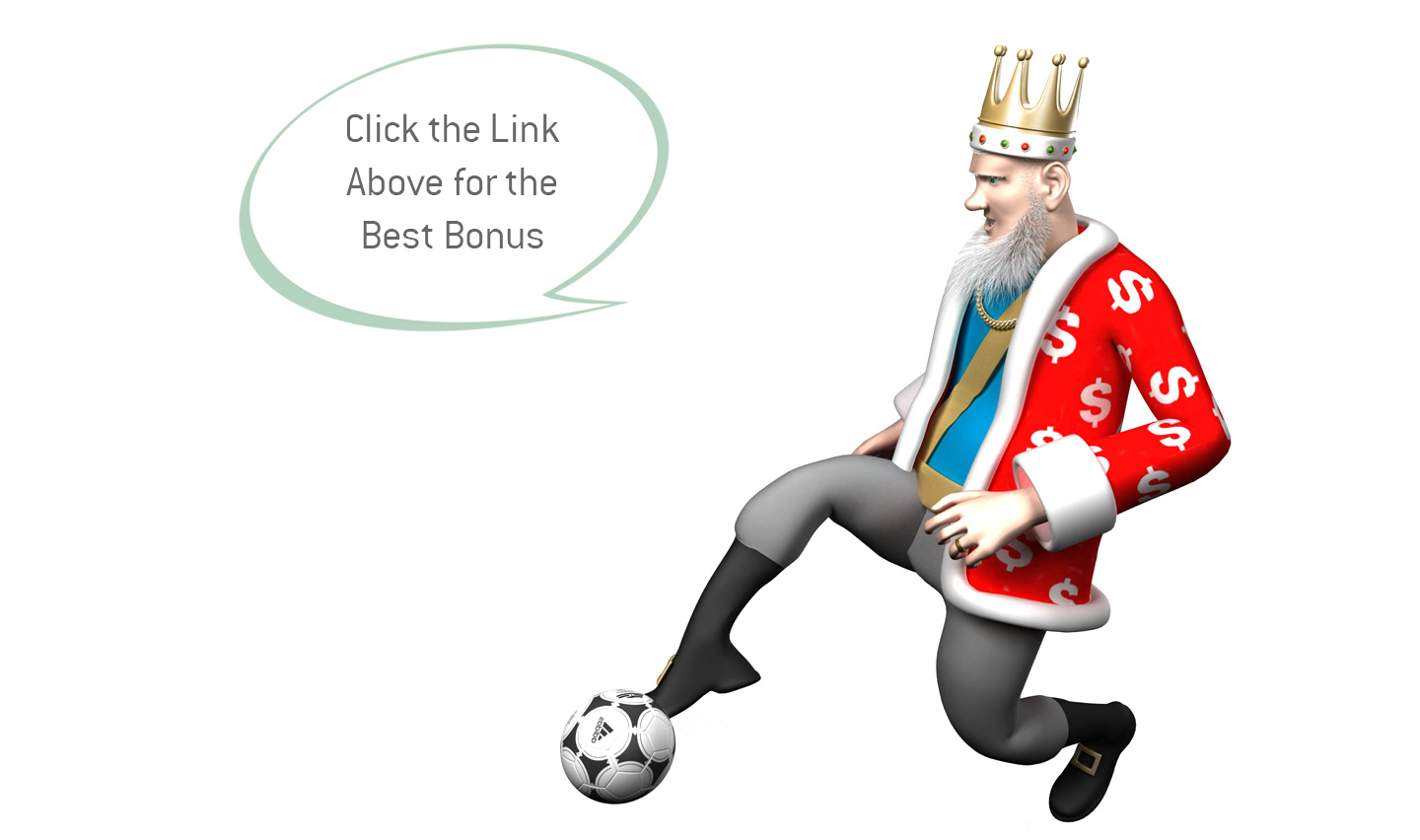 The Sports King is presenting the best bonus offer for betting on Manchester City games.  In the same time he is doing a special move with a football.