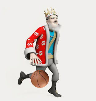 The King is bouncing a basketball